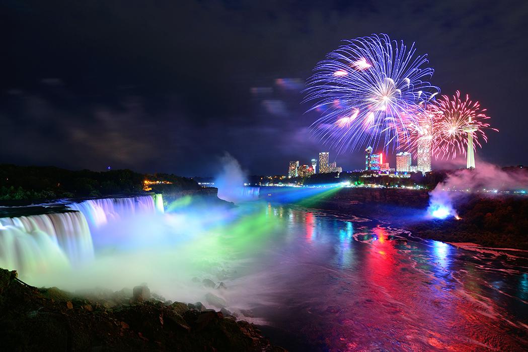 Niagara Falls at Night with fireworks