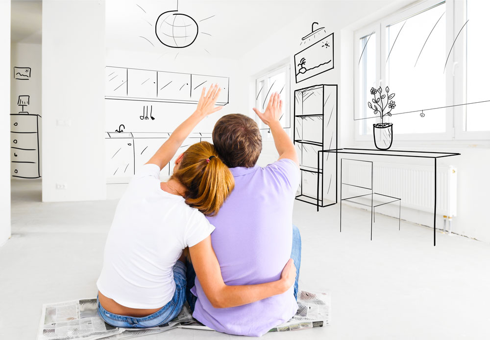 Young Couple imaging a new home interior